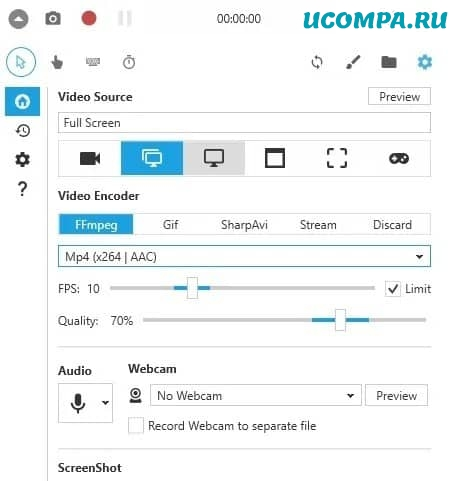 Виджет Windows 10 Screen Recorder Pro