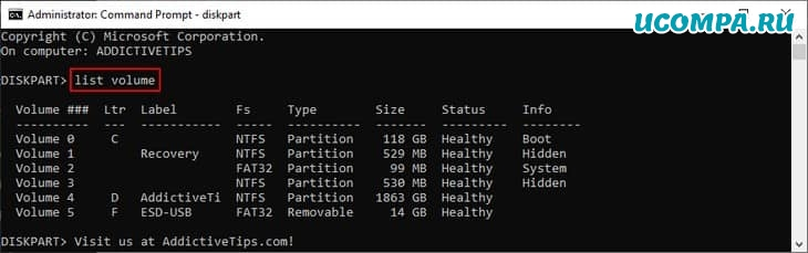 Windows показывает, как вывести список томов с помощью diskpart